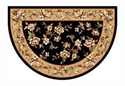 Picture of Black & Beige Floral Kashan Hearth Rug